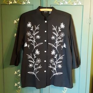 Embroidered Floral Shirt Erika Sz M